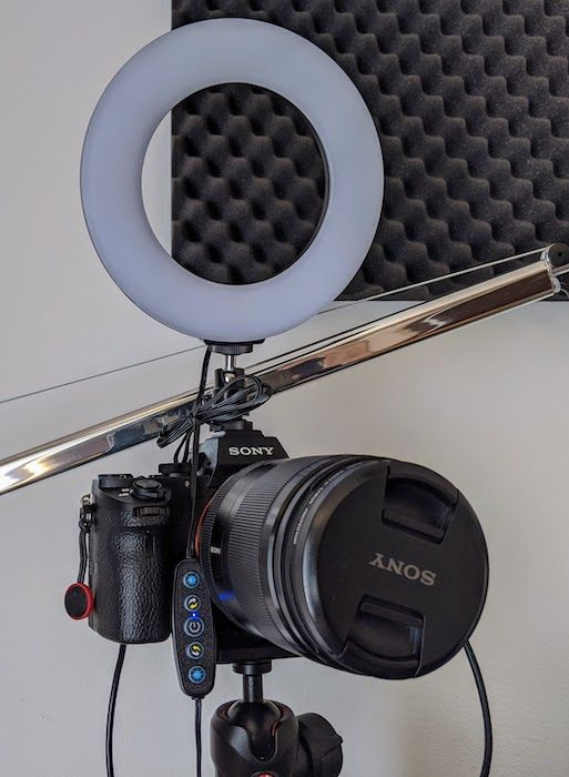 A LED ring light attached on the hot shoe mount of my Alpha 7 Mark 2.